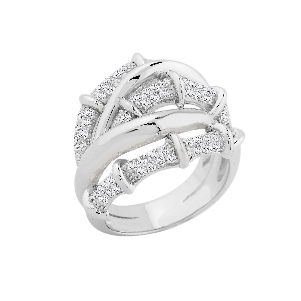 Evan Jewels, EV5-5034 Exquisite Crossover Band in Sterling Silver (S-7)