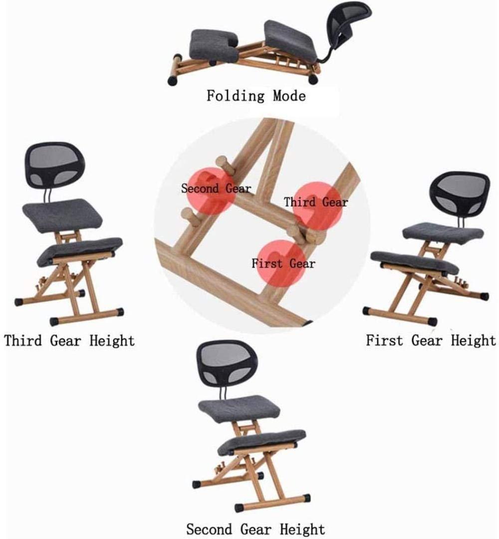 Ergonomisk pall med ryggstöd korrekt hållning anti-närsynthet stol höjd justerbar pall hem kontor knästol (färg: grå) Grått