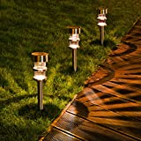 Solar Path Lights, DecorNova Waterproof Stainless Steel Solar LED Garden Lights Landscape Lighting For Outdoor Patio Pathway Walkway Driveway Christmas, 4X Bright (5 Lumens), 8-Pack, Warm White