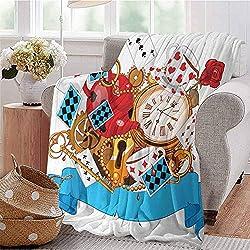 SSKJTC Soft Lightweight Blanket Mad Design of Cards Clocks Tea Pots Keys Flowers Fantasy World Artwork Multicolor Dorm Bed Baby Cot Traveling Picnic W60 xL80