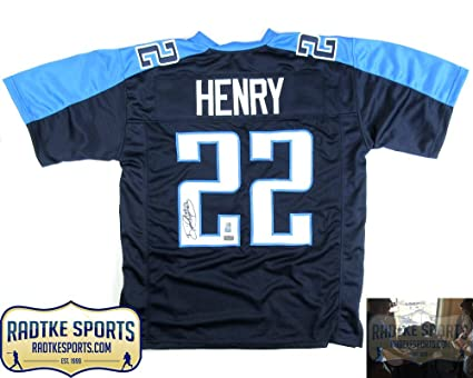 Image Unavailable. Image not available for. Color  Derrick Henry Autographed  Signed Tennessee Custom Blue Jersey f87145c4c