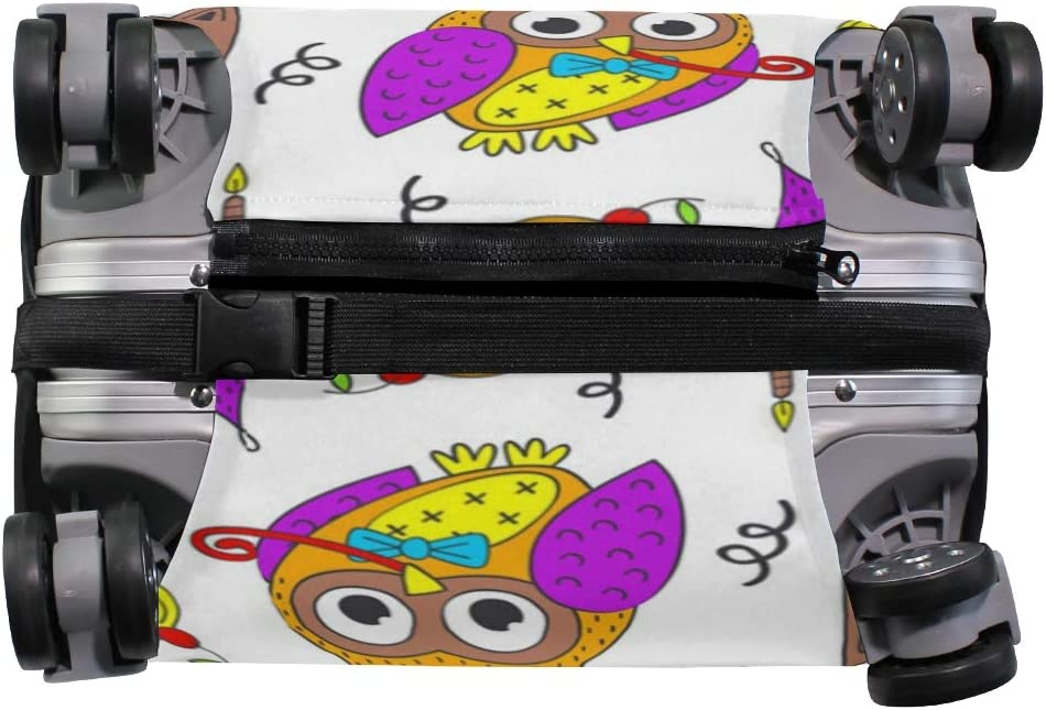 Happy Birthday Owl Decor Travel Luggage Protector Case Protective Suitcase Cover Elastic Luggage Protector Case Protector,Four Sizes Available