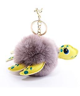 Wanrane Women's Supplies Modern Stylish Pendant PU Leather Turtle Plush Ball Key Chain Pendant Plush Doll Key Ring Keychain(Grey)