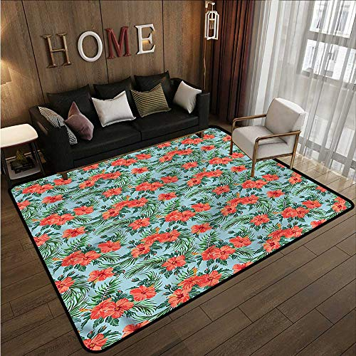 Kids Rug Luau Summer Aloha Flourish Extra Large Rug ()