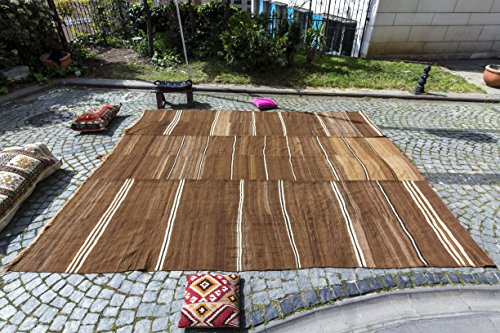 Vintage Kilim Rug, Semi Antique Natural Wool Colour Rug 10.50x12.37 ft (320x377 cm)