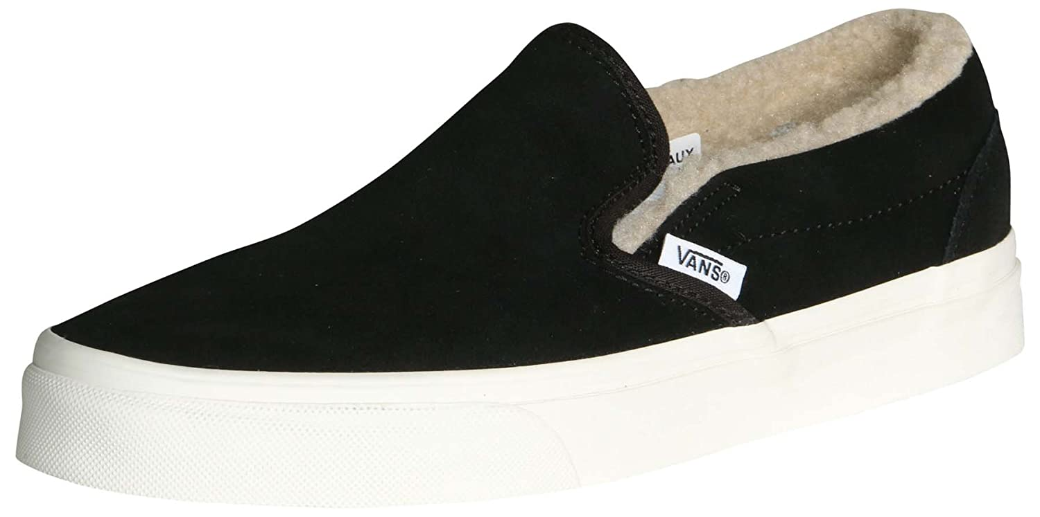 Vans Men's Classic Slip On (Suede & Suiting) Skateboarding Shoes B07C588Z1G 8.5-Women/7-Men Medium (D, M) US|Black/True White