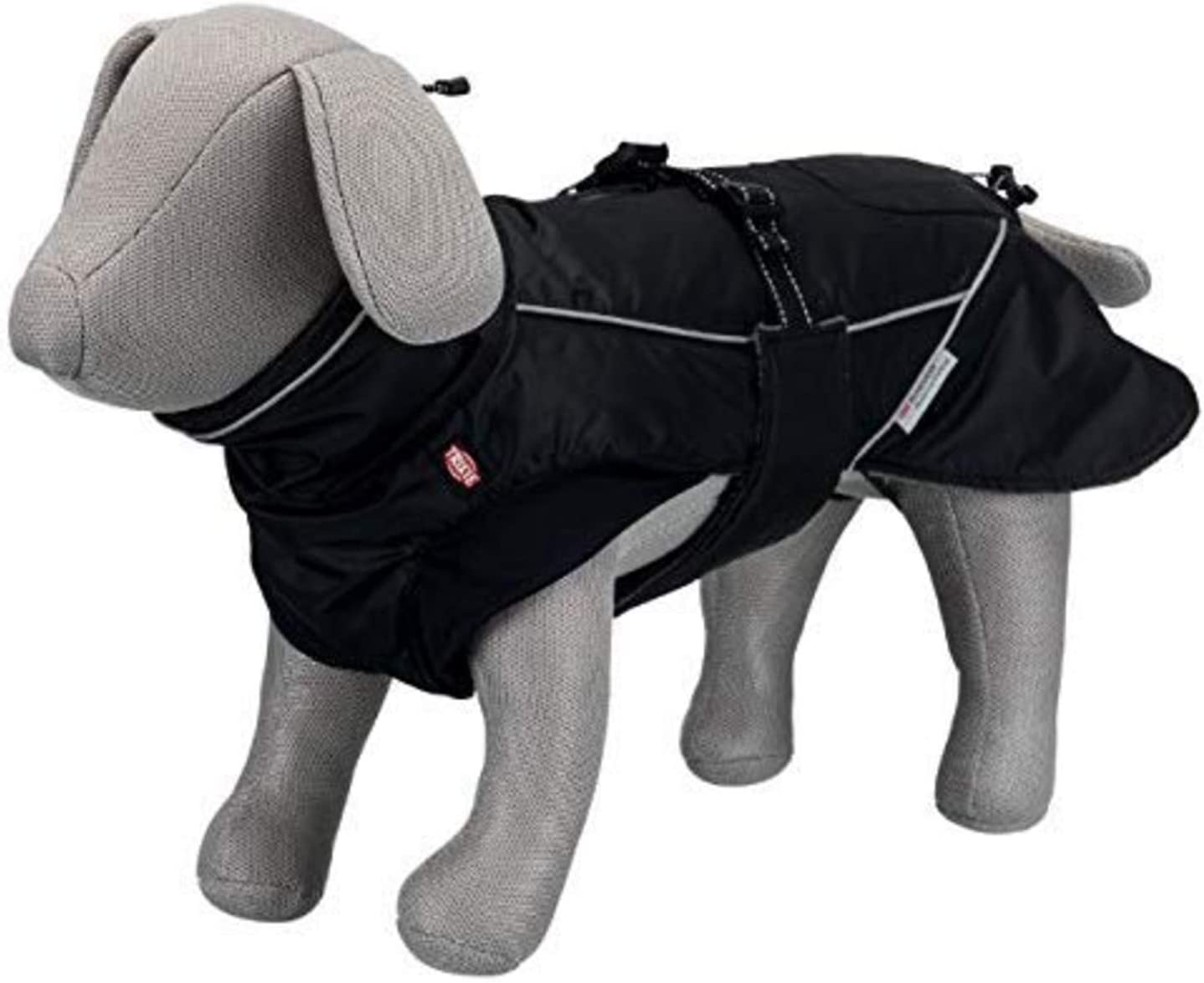 Trixie Abrigo Perro Ropa Mascotas - Chaqueta Capa Chaleco Chubasquero Perro Grande Pequeño Mediano Impermeable Perros Accesorios Brizon TallaL 55 cm Negro