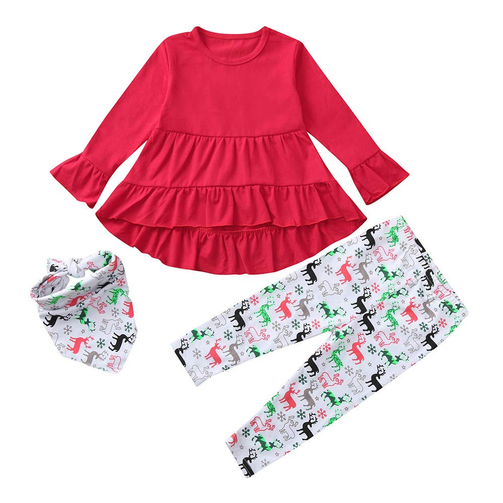 Christmas Girls Outfits,Fineser Adorable Baby Girls Xmas Solid Color Frills Dresses+Deers Print Pants+Scarf Clothing Set