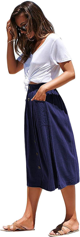 elegante Durio maxi gonna lunga da donna linea A al ginocchio vintage gonna a pieghe con tasche