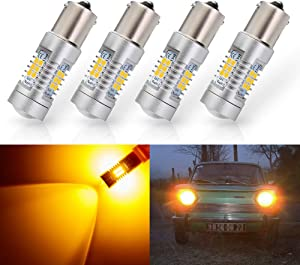 ANTLINE Extremely Bright 1156 1141 1003 7506 BA15S 1156A 21-SMD 2835 Chipsets 1260 Lumens LED Bulb Replacement Amber Yellow for Car RV Interior Turn Signal Blinker Side Marker Lights Bulbs (Pack of 4)