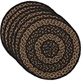 VHC Brands Classic Country Primitive Tabletop & Kitchen-Farmhouse Jute Black Round Tablemat Set of 6, Red