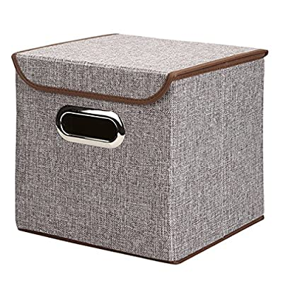 "Generic Non-Woven Foldable Storage Box Cube Basket Bin With Lid, 1 Pack,9.8""x9.8""x9.8"" (gray) - Material: Nonwoven polypropylene and cardboard Great for Games, toys, art & craft supplies, and more Bin is collapsible to save on space when not in use - living-room-decor, living-room, baskets-storage - 61b24UwaA9L. SS400  -"