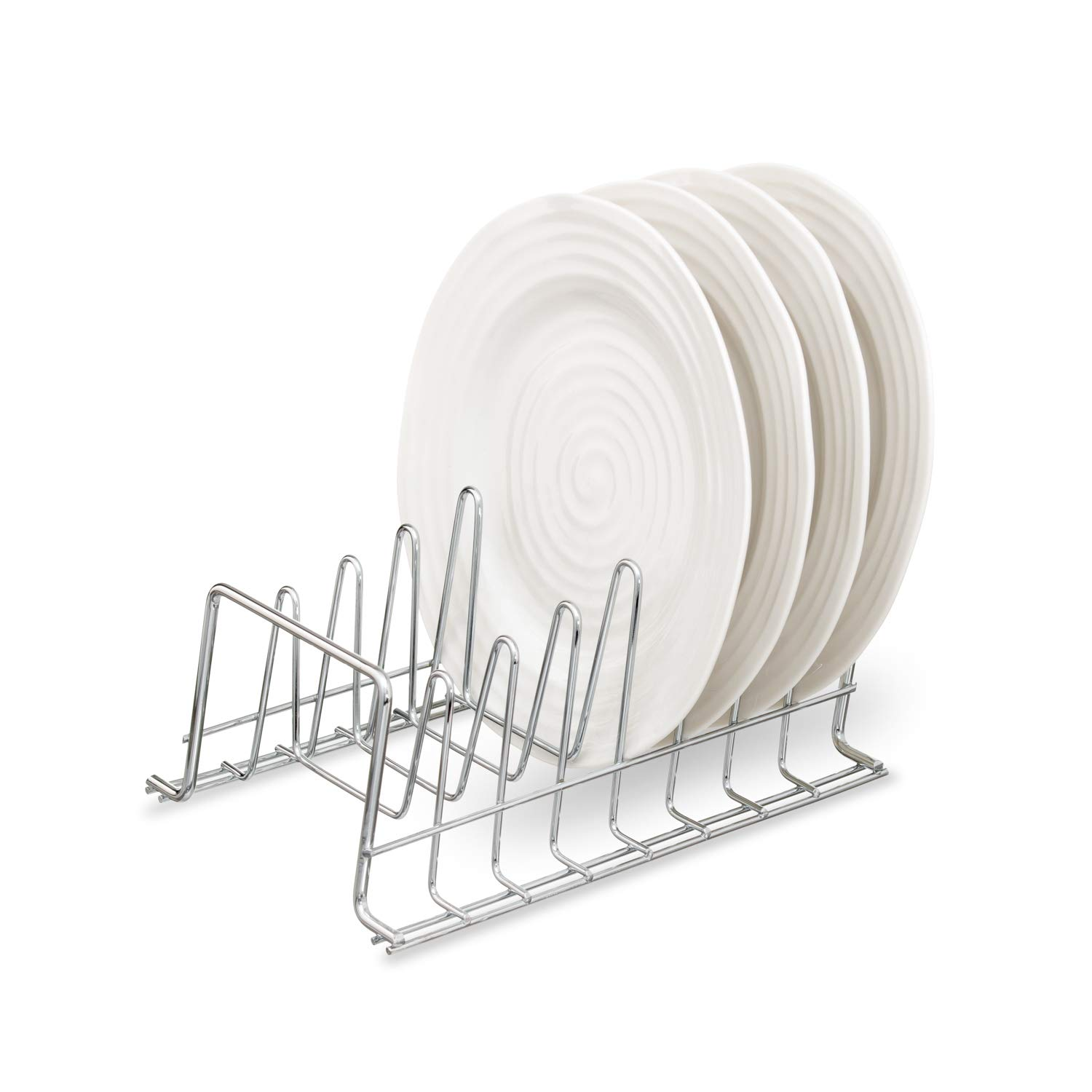 simplywire - Plate Rack / Drainer - Kitchen Cupboard Storage Organiser - Chrome - Small