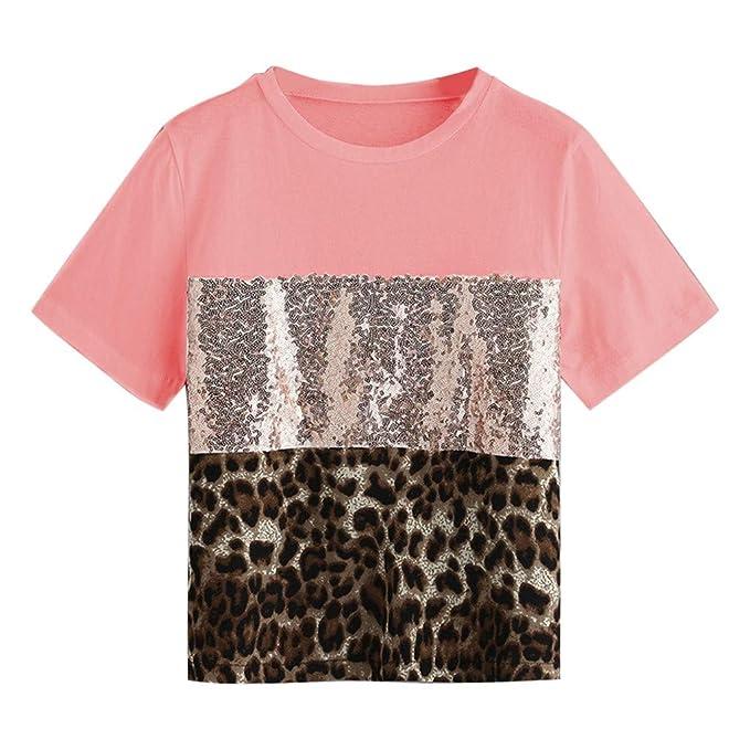 Camiseta de Manga de Lentejuelas Moda Mujeres Pacthwork Leopardo ...