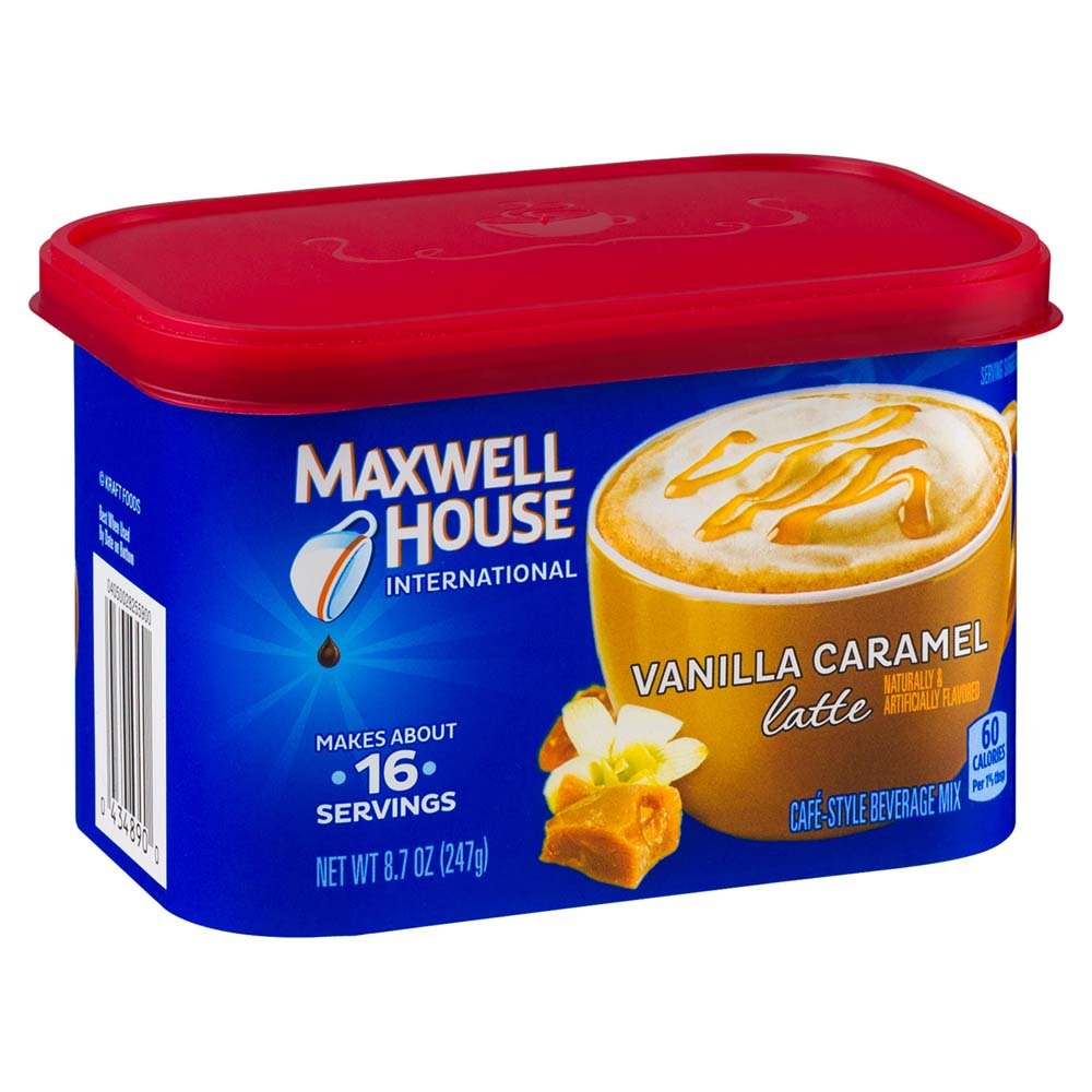 Maxwell House International Cafe Flavored Instant Coffee, Vanilla Caramel Latte, 8.7 Ounce Canister (Pack of 4) KraftHeinz 00043000041789