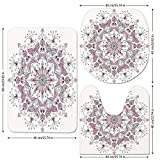 3 Piece Bathroom Mat Set,Purple Mandala,Lacy Pastel Floral with Butterfly and Lotus Figures Meditation Design Decorative,White Light Pink,Bath Mat,Bathroom Carpet Rug,Non-Slip