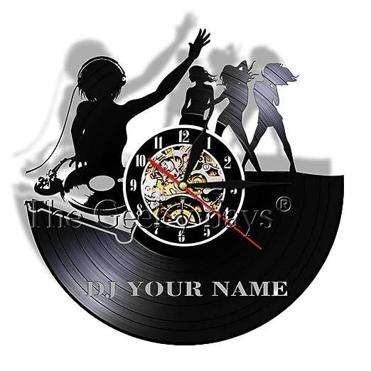 ttymei DJ Habitación Personalizada Deco Bar Vinyl Record Reloj de ...