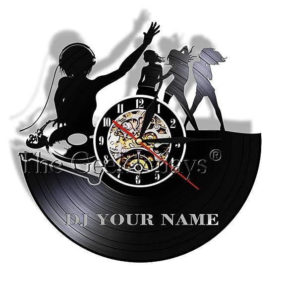 DJ Habitación Personalizada Deco Bar Vinyl Record Reloj de Pared ...
