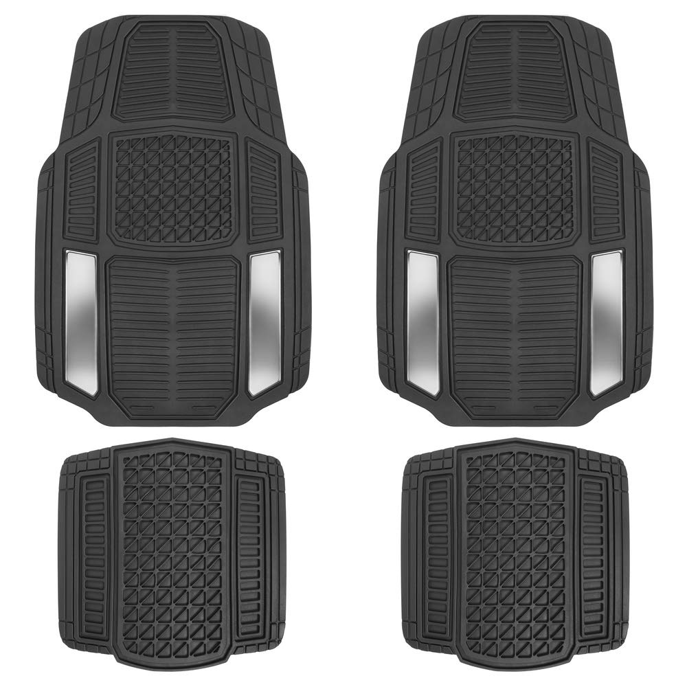 Motor Trend MT824 Chrome RuggedEarth Car Rubber Floor Mats for Auto Sedan Truck SUV Van - All Weather Deep-Cut Catch-All Liners