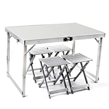 LYFHL-Folding table Mesa de Picnic Plegable for 4 Personas con 4 ...