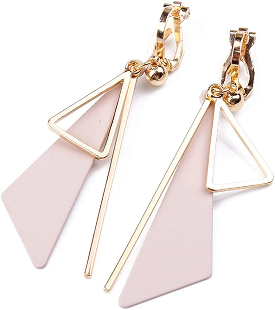 Dangle Earring Clip on Screw Back Shell Bead Square Long Tassel for Girls Fashion Jewelry