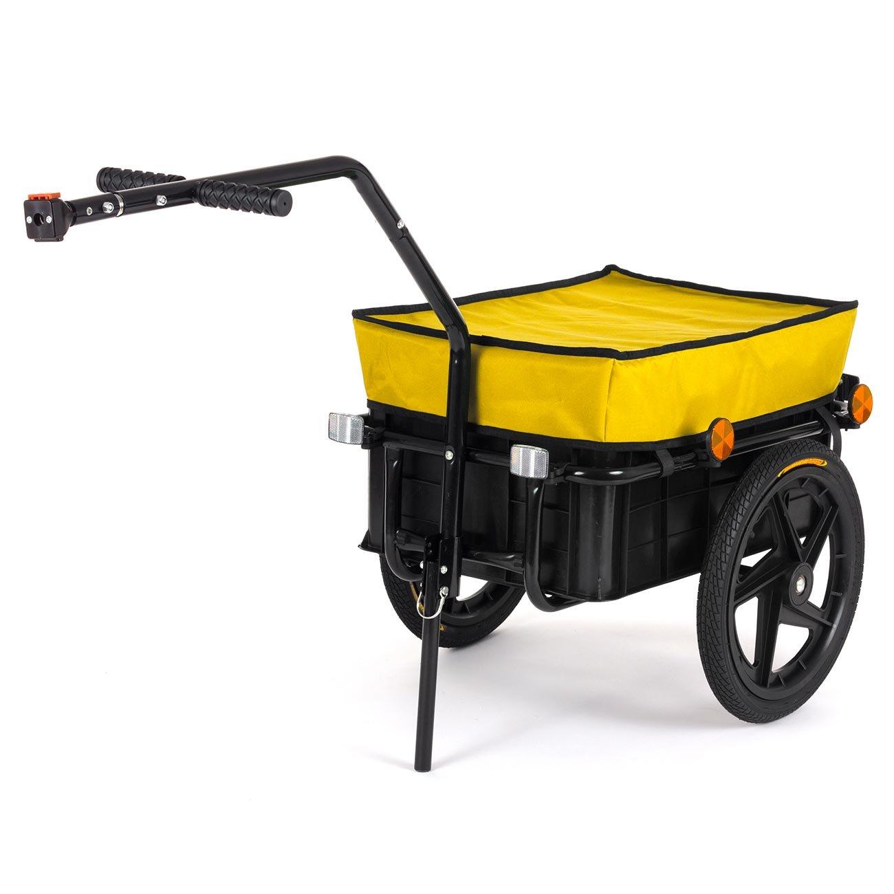 SAMAX Rimorchio per Bicicletta con Ruote Bici Carrello Rimorchio per bagaglio Trasporto Carico Carello Carretto 60 Kg 70L in Giallo - disponibile in altri colori