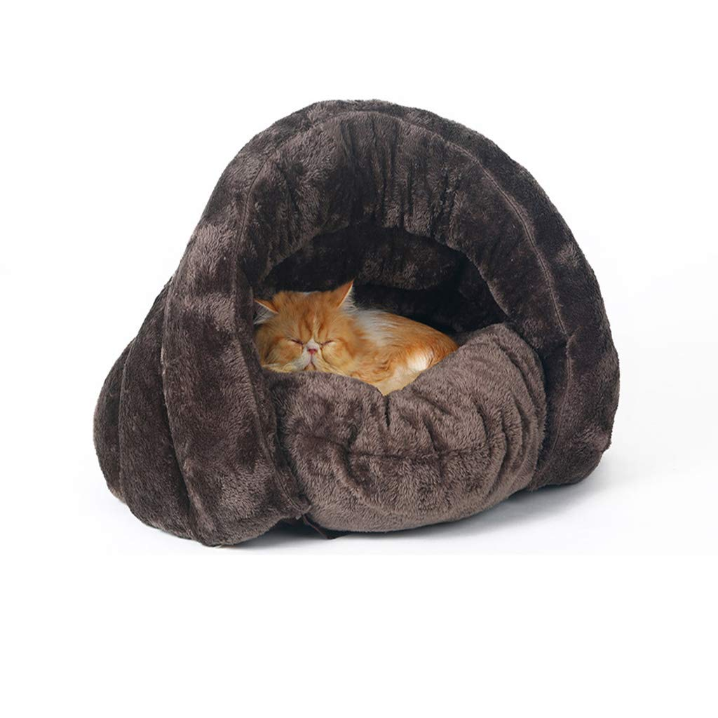 M Hxyan Cat Bed Small Medium Removable Washable Semi-closed Thickening Cat Sleeping Bag Brown PP Cotton (Size   M)