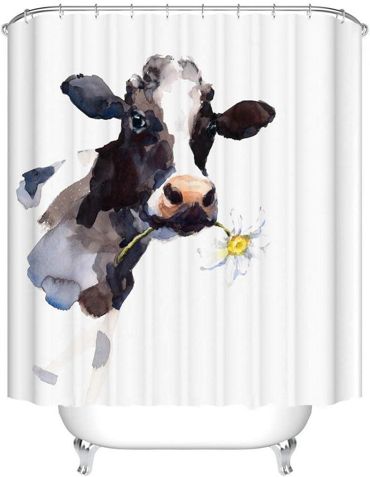 Fangkun Shower Curtain - Cow Farmhouse Animal Painting Art Bathroom Decor Set - Polyester Fabric Bath Curtains - 12 Shower Hooks - 72 x 72 inches