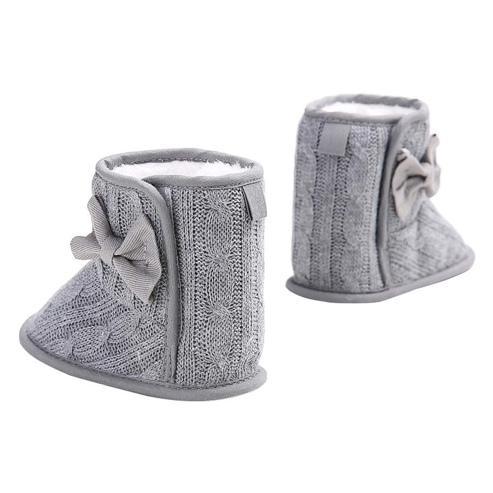Wollanlily Baby Winter Snow Boots Premium Knit Anti-Slip Soft Sole Girls Boys Infant Toddler Prewalker Crib Shoes(Large(12-18 Months),Gray) by Wollanlily (Image #4)