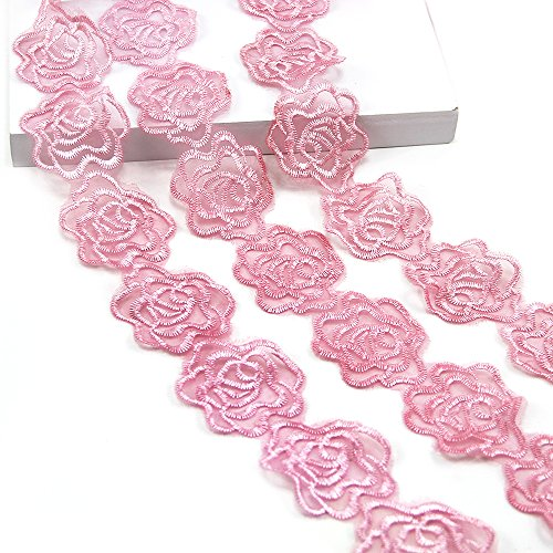 (5 Yards Organza Embroider Romantic Rose Flower Floral Lace Trim Applique Sewing DIY Craft Lace for Festival Wedding Party Birthday Bridal Shower Decoration (Rose)