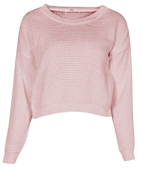 1b560a28344 Crazy Girls Celeb Inspire Womens Waffle Chunky Knitted Jumper Oversized  Crop Top at Amazon Women s Clothing store