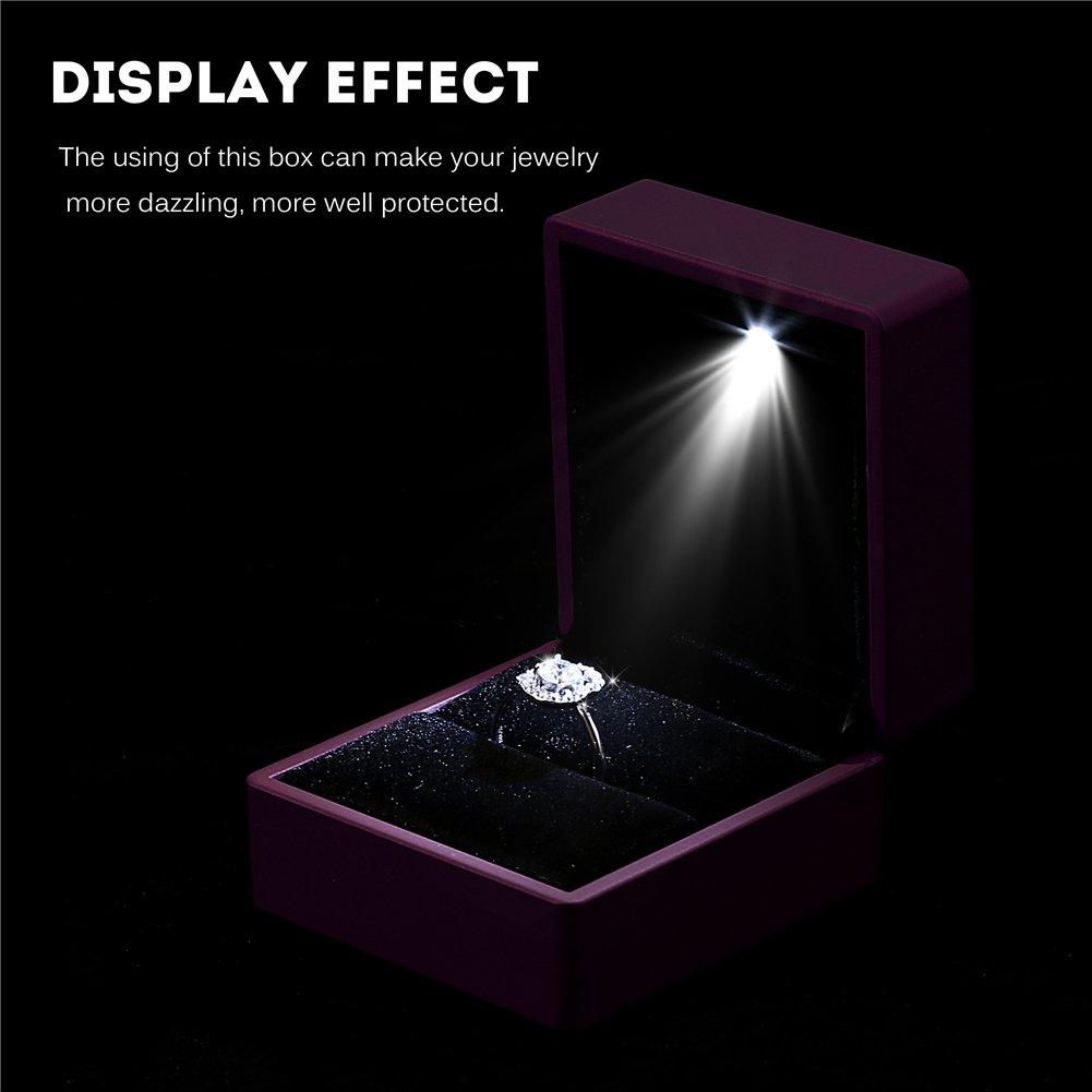 4 colores de moda LED iluminado Anillo caja de almacenamiento de joyer/ía Display Case Gift azul