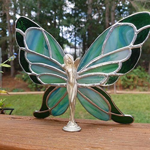 (Stained Glass Butterfly Lady 2 tone Glass with Cast Figurine body)