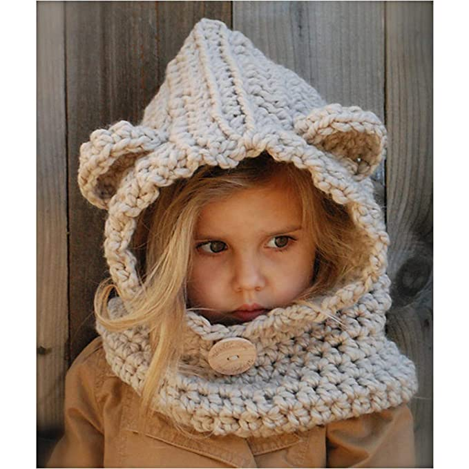 4d03d2c271e1f9 OUYAJI Baby Kids Cute Warm Winter Shawl Hat Snow Scarf Knitting Wool Bear-Like  Hat