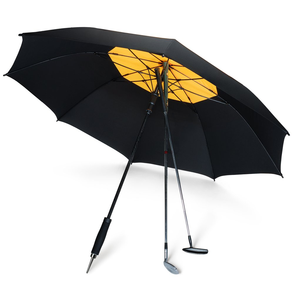 DAVEK GOLF UMBRELLA (Black/Yellow) - Extra Large Double Canopy Umbrella, 62 Inch Coverage with Automatic Open, Windproof Tested 60 MPH