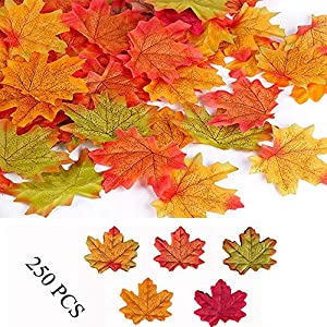 Yesallwas 250Pcs Fake Fall Maple Leaves Decoration Assorted Mixed Fall Colored Artificial Maple Crafts Leaves for Weddings,Thanksgiving,Christmas,Party,Events and Fall Decorating 4