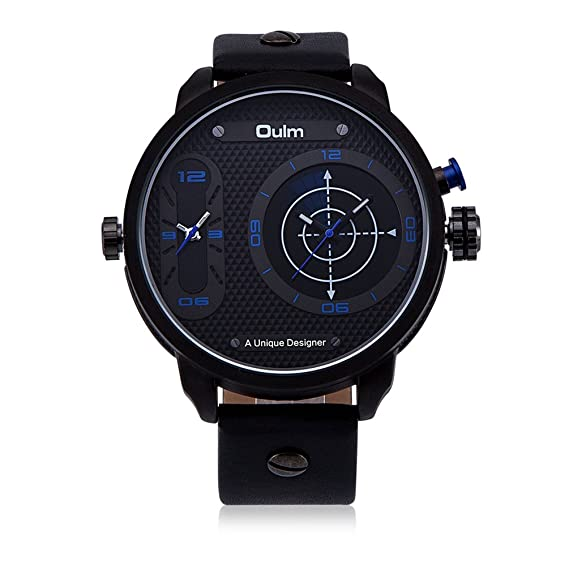 Unique Pilots Casual Analog Wrist Watch Black Leather Strap Dual Time Zone Automatic Watch Big Face