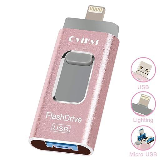 【タイムセール】OYIKYI usbメモリ 32gb iPhone フラッシュドライブ 人気 usb メモリ 3-in-1 iOS/Android/コンピュータ対応 スマホ 容量不足解消 パスワード保護 高速転送 日本語取扱説明書付き(32GB ローズゴールド)