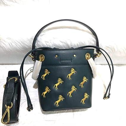 f74857d76dc2 GSYDXKB Shoulder Bag New Drawstring Pony Embroidery Bucket Bag ...