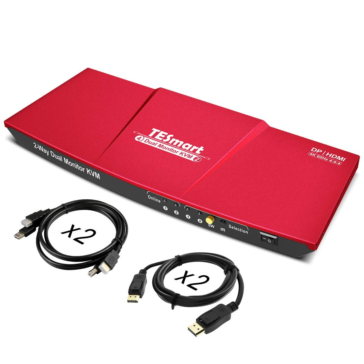 TESmart DisplayPort Dual Monitor KVM Switch Support UHD 4K@60Hz USB 2.0 Devices Control up to 2 Computers with (DP+HDMI+USB) Input Ports and 2 Montiors with HDMI Port