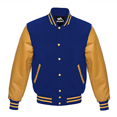 cd50dfea5 Real Gold Leather Sleeves Royal Blue Wool Letterman Varsity Baseball Bomber  School College University Jackets