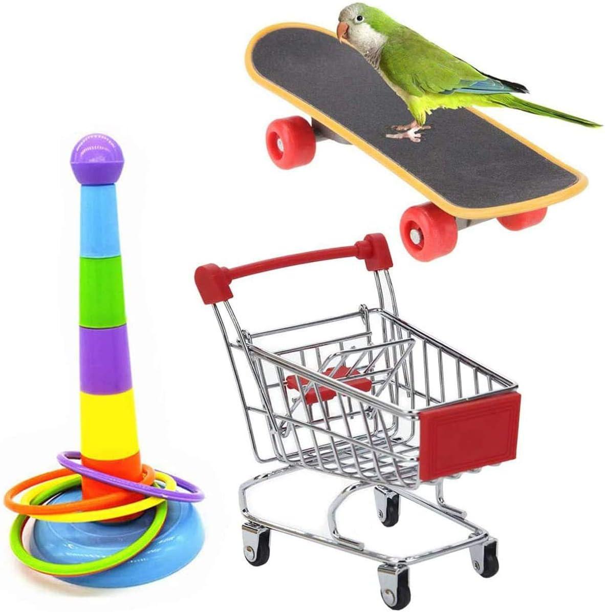 Acidea 3 piezas juguetes para loros, juguetes para pájaros, incluyendo mini anillos de entrenamiento, carrito de compras monopatín juguetes interactivos para loro, periquito, cacatúa Lovebird