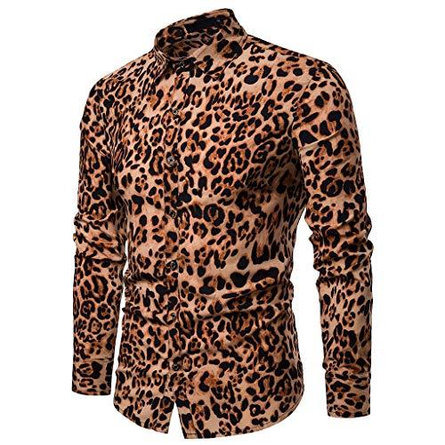 Save 15%! BBesty Men's Leopard Print Long Sleeve Casual Slim Shirt ()