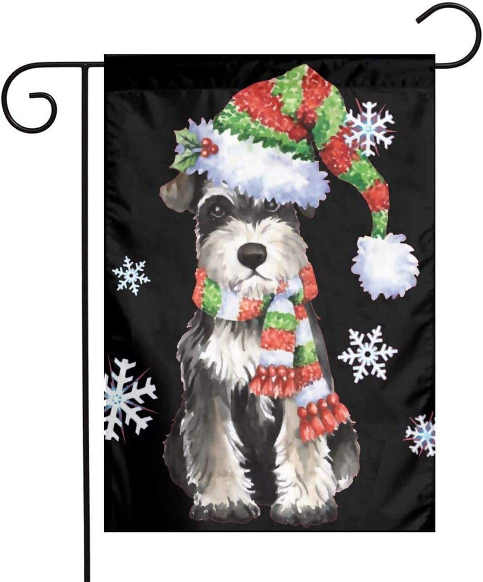 NEWpapa Happy Holidays Miniature Schnauzer Double Sides Garden Flags Colorful Festival Decoration Accessiories