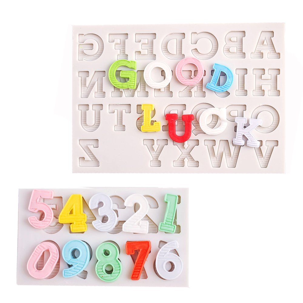 Number Chocolate Mould Silicone Letter Mold Candy Making Alphabet Fondant Molds Set of 2