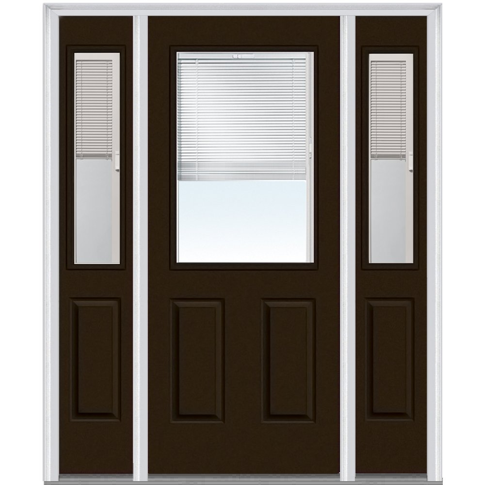 National Door Company ZA14454R Steel, Brown, Right Hand In-swing, Prehung Door, 1/2 Lite 2-Panel, Clear Glass with RLB, 36'' x 80'' with 14'' Sidelites
