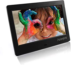 Polarpra Electronic Picture Frames,7 Inch Digital Picture Frame Slideshow HD LCD Screen,720P/1080P Video Photo Display,Music,Auto Rotate,Calendar,Alarm&Clock,SD Card&USB Port with Remote Control-Black