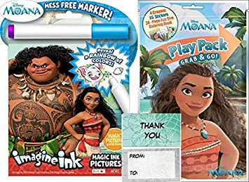 moana play pack and magic ink mess free coloring book bundle - Magic Ink Coloring Books