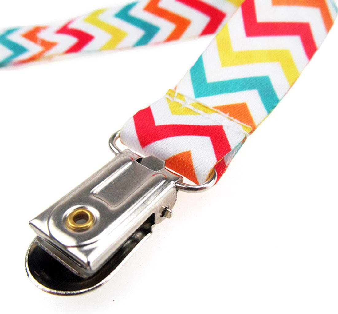 YUENA CARE 4 pcs Pacifier Clips Cotton Pacifier Holders Soother Chains #3