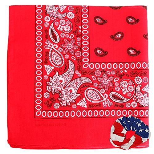 Large Bandanas 27 x 27 | Versatile Biker Rags | Classic Paisley Bandana Pattern, Red